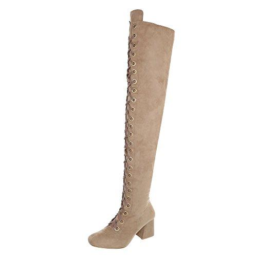 Ital-Design Overknees Damen-Schuhe Overknees Blockabsatz Schnürer Reißverschluss Stiefel Beige, Gr 36, My206-
