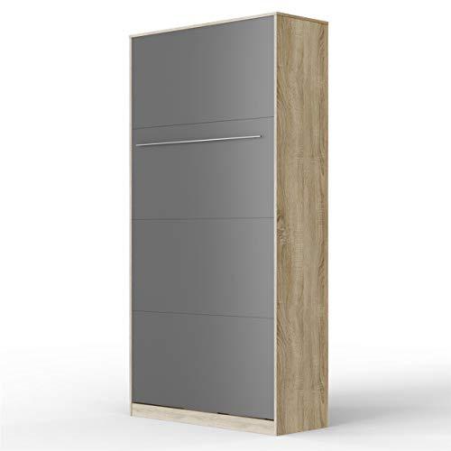 SMARTBett Standard 90x200 Vertikal Eiche Sonoma/Anthrazit Schrankbett   ausklappbares Wandbett, ideal geeignet als Wandklappbett fürs Gästezimmer, Büro, Wohnzimmer, Schlafzimmer
