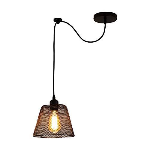 Moderno Creativo Araña Iluminación Colgante Bricolaje Ajustable Lámpara de Salón Colgante de luz, Negro Hierro Jaula Diseño Candelabro E27-Max60W, Techo Lámparas de araña para Comedor Bar,1light