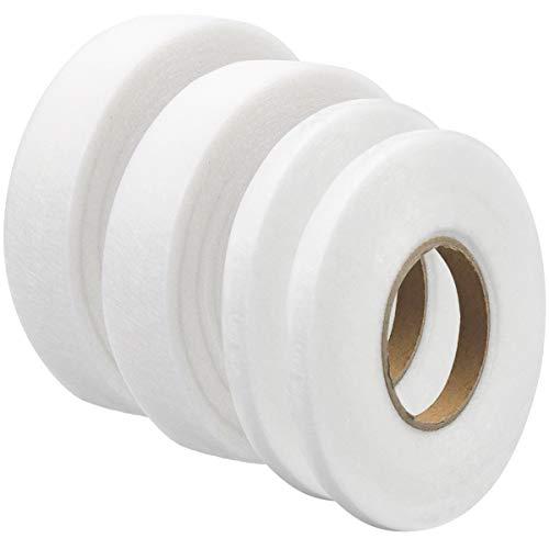 NATUCE 260M Saumband Bügelband, 4 Rollen Klebeband Aufbügelbar, Fixierband Nahtband, für Textilien Hosen Gardinen Vorhänge zum Aufbügeln/nähen, Weiß, zum Aufbügeln oder Nähen (25mm+10mm)