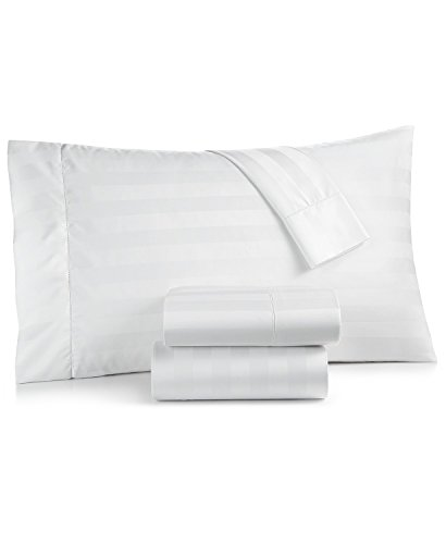 Charter Club Damask Stripe 550 Thread Count 100% Supima Cotton California King 4 Piece Sheet Set White