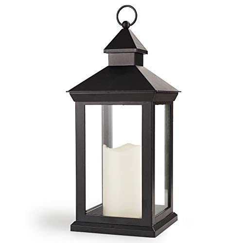 Bright Zeal 14' Tall Vintage Decorative Lantern with LED Pillar Candle - Outdoor Lantern Waterproof Lanterns Battery Powered Lanterns Decorative Wedding - LED Lantern Black Lanterns with LED Candles