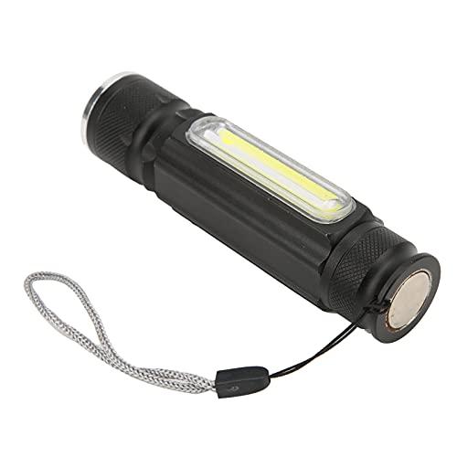 Linterna de bolsillo, aleación de aluminio, impermeable, recargable por USB, linterna de mano con cordón para acampar en caso de emergencia