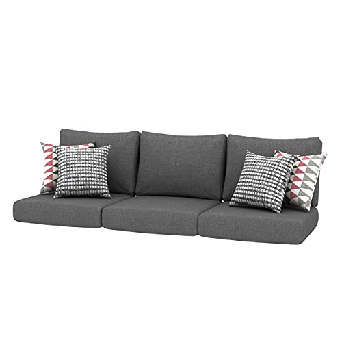 Creative Living 24x24 Outdoor Refresh Patio Sofa Deep Seating Replacement Cushions with Decorative Pillows, Grey