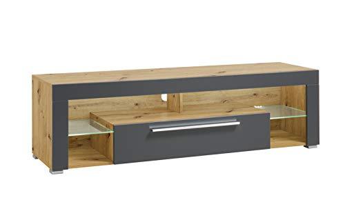 lifestyle4living Lowboard in Eiche-Dekor und grau, TV-Unterschrank mit 1 Klappe und 4 offenen Fächern, modernes TV-Board mit LED-Beleuchtung