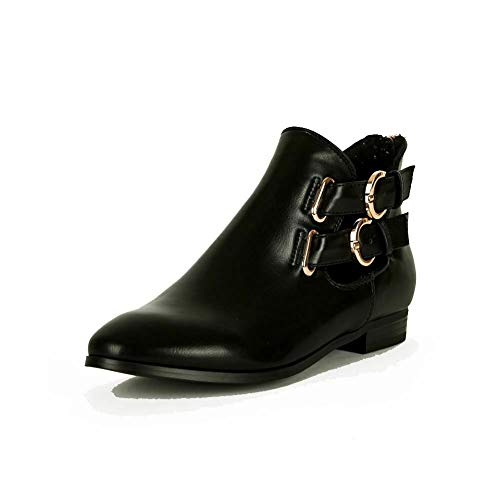 SendIt4me Black Flat/Low Heel Ankle Pixie Boots with Gold Double Buckles