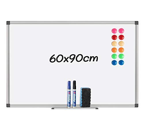 Magnetisches Whiteboard mit Stiftablage&12 magnetischen Partikeln, einem Tafellöscher und 2 Whiteboard-Stiften geliefert,90 cm x 60cm (B x H)