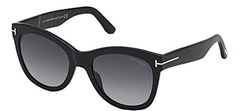 Tom Ford Gafas de Sol WALLACE FT 0870 Shiny Black/Grey Shaded 54/20/140 mujer