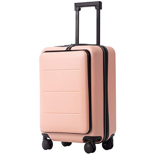COOLIFE Luggage Suitcase Piece Set Carry On ABS+PC Spinner Trolley with pocket Compartmnet (Sakura pink, 20in(carry on))