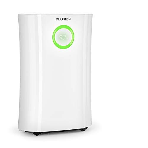 Klarstein DryFy Pro Connect - Deshumidificador de compresión, Purificador de aire integrado con filtro, Ionizador y función UV, WiFi, Automático, Potencia 370 W, Temporizador, Indicador LED, Blanco