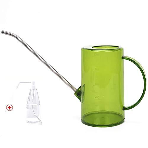 Chytaii Regadera de plástico de 1 litro para plantas de interior, jardín, regadera larga, pequeña regadera con escala para interior y exterior, botella pulverizadora