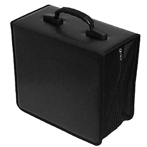 NIDONE CD CD Titular Caja de la Carpeta Carpeta DVD DVD Organizador Bolsa de Almacenamiento del álbum PU 400 Capacidad portátil con la manija Negro