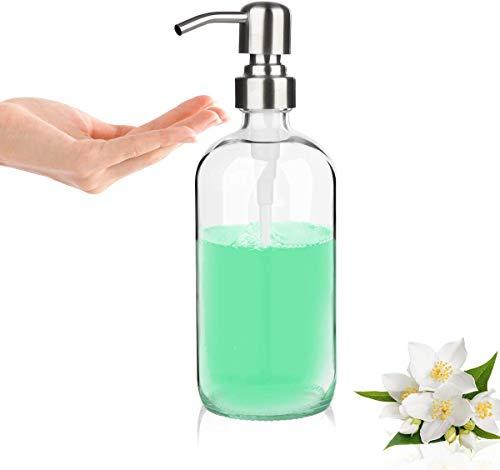 GLUBEE Seifenspender Glas, Pumpe aus Edelstahl - Nettoyer transparenter Glas seifenspender für Flüssigseife, Lotionen, 500ml für Küchen Badezimmer Hotel Waschraum