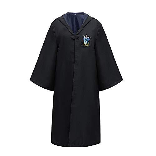 ZHONGXIN Disfraz de Mago Túnica Negra Larga de Caballero Uniformes Cosplay Asistente Adulto Capa con Capucha Disfraces (A,S)