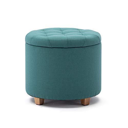 HNNHOME - Pouf imbottito in lino, con coperchio, 45 cm, colore: Verde chiaro