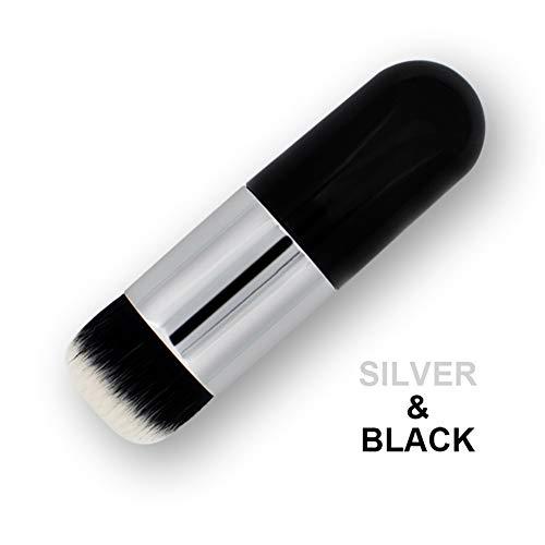 Xiton 1 PC Pinceaux à Maquillage Haut Plat Fond De Teint Kabuki SynthéTique Polissage Des PointilléS Brosses CrèMe Liquide Outils De MéLange (Silver Black)