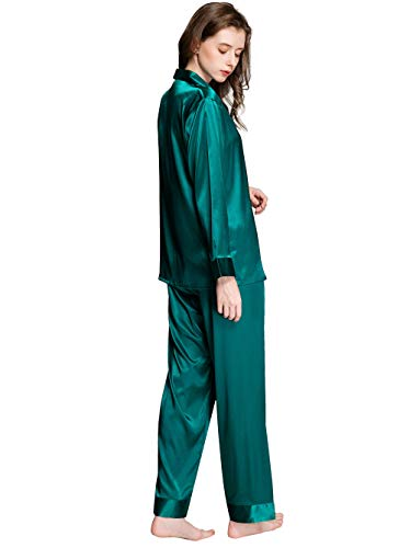 Damen-Schlafanzug-Set, Seide, Satin, Nachtwäsche, Loungewear, Größen XS-3XL -  Grün -  X-Small