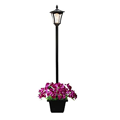 Timechee 67 Inch Outdoor Solar Lamp Post Light with Planter,Premium Solar Powered Vintage Street Lights for Lawn,Pathway, Driveway, Street, Patio, Garden, Yard
