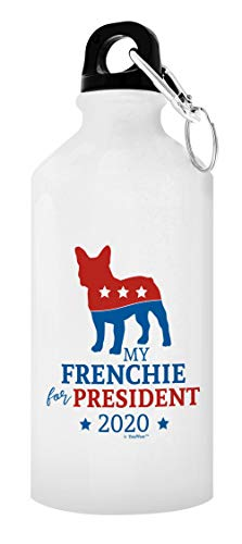 Frenchie Mug My Frenchie For President 2020 20oz Water Bottle with Clip & Sport Top