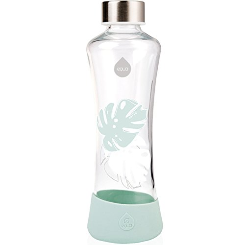 EQUA Glasflasche Monstera 0,55l Trinkflasche aus Glas 550 ml Sportflasche mit Silikonboden Flasche mit Silikonhülle Designer Trinkflasche für unterwegs und Büro