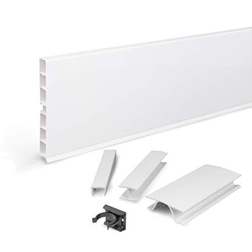 DQ-PP Sockelleiste 4,5m | Sockelblende | 150mm | Weiss hochglanz | Kunststoff | Sockel | Sockelleisten | Sockelprofil | Küchensockel | Kuechensockelleiste für Einbaukueche