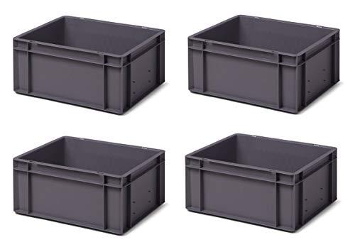 4 Stk. Transport-Stapelkasten TK417-0, grau, 400x300x175 mm (LxBxH), aus PP, Volumen: 15 Liter, Traglast: 35 kg, lebensmittelecht, made in Germany, Industriequalität