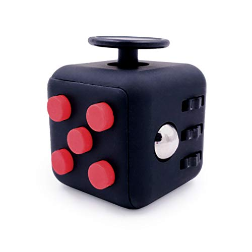 GreenBee Cubo antiestres, Fidget Cubes, Fidget Toys, Juguetes antiestres con 6 módulos relajantes. (Negro Rojo)