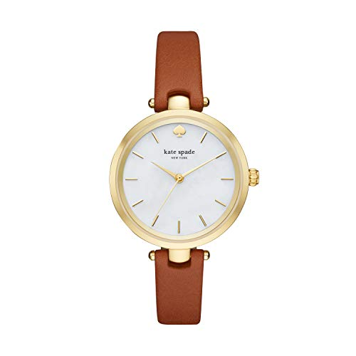 Kate Spade New York Women's Holland Quartz Stainless Steel, Leather Mother of Pearl Watch, Color: Gold, Brown (Model: KSW1156)