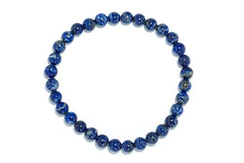 Taddart Minerals – Pulsera azul de piedra preciosa natural lapislázuli con bolas de 6 mm en hilo elástico de nailon – hecha a mano