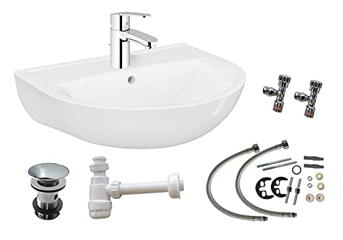 Domino Eco 60 Keramik Waschtisch-Set | Komplettset | 60 cm | Weiß | Einhandmischer | Eckventile | Siphon | Ideal für jedes WC / Toilette