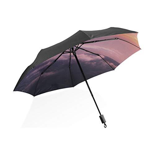 Umkehrbare Regenschirme Flugzeug Im Himmel Bei Sonnenaufgang Tragbare Kompakte Taschenschirm Anti Uv Schutz Winddicht Outdoor Reise Frauen Kinder Winddicht Regenschirm