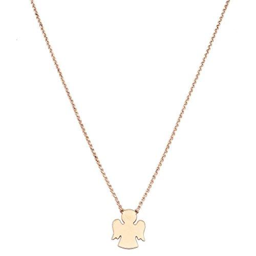 Amen Collana In Argento 925 Collezione Prega, Ama - Colore Rosè - Misura Unica Collana Angelo