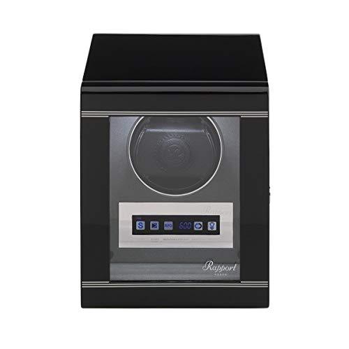 Rapport, Formula Series Caja automática de lujo para relojes – motores silenciosos, pantalla táctil LCD, diseño moderno en acabado de piano negro con accesorios cromados.