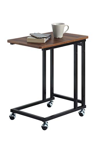 SunnyPoint Classic Side Table, Mobile Snack Table for Coffee Laptop Tablet, Slides Next to Sofa Couch, Wood Look Accent Furniture with Metal Frame (Black)