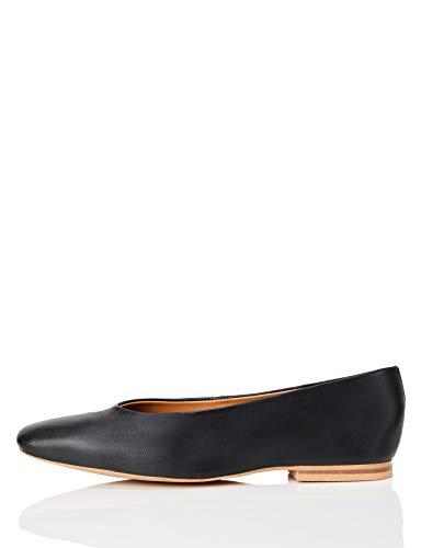 FIND Square Toe Soft Leather Geschlossene Ballerinas, Schwarz (Black), 41 EU