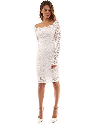 Vestido de Fiesta Encaje Manga Larga sin Hombros Lápiz Mujer Bodycon (Blanco, XL)