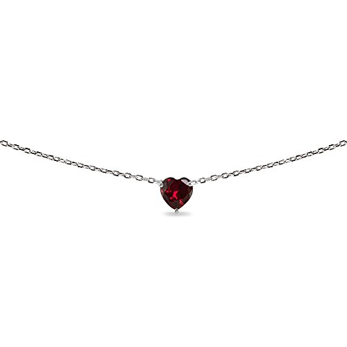 LOVVE Sterling Silver Heart-cut Created Ruby Solitaire Choker Necklace for Teens or Women