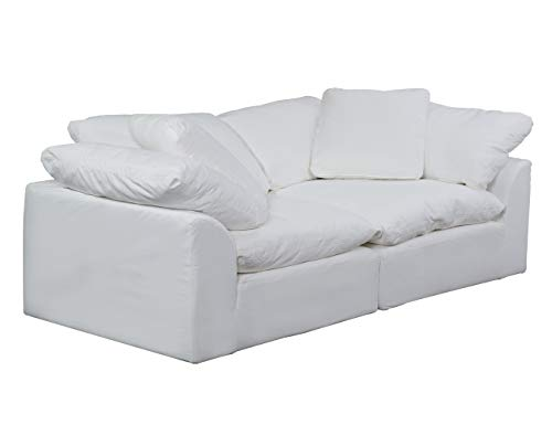 Sunset Trading Cloud Puff 2 Piece Modular Performance White Sectional Slipcovered Sofa, Moisture Resistant Fabric,