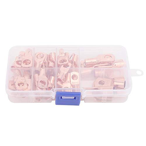 60-teiliges Kupferklemmen-Kit, nicht isolierte Kabelschuhe, Kabelringklemmen, Steckverbinder, mit Aufbewahrungsbox