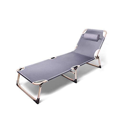 YQAD - Tumbona plegable de metal, portátil, para el hogar, oficina, jardín, patio, playa, exterior, 2 sillas