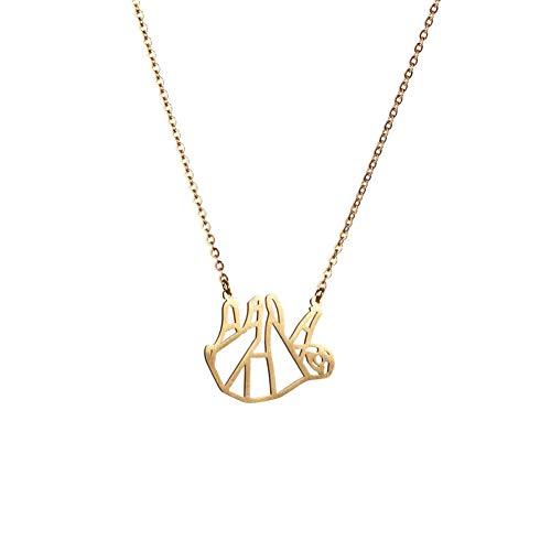 La Menagerie Faultier Gold, Origami-Schmuck & vergoldete geometrische Kette - 18-karätig Goldkette & Faultier-Halsketten für Frauen - Faultier-Halskette für Mädchen & Origami-Halskette