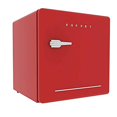 KUPPET Classic Retro Compact Refrigerator Single Door, Mini Fridge with Freezer, Small Drink Chiller for Home,Office,Dorm, Small beauty cosmetics Skin care refrigerated for home,1.6 Cu.Ft (Red)