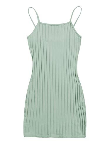 SheIn Women's Basic Sleeveless Strappy Cami Dress Bodycon Solid Rib Knit Mini Dress Mint Green X-Small