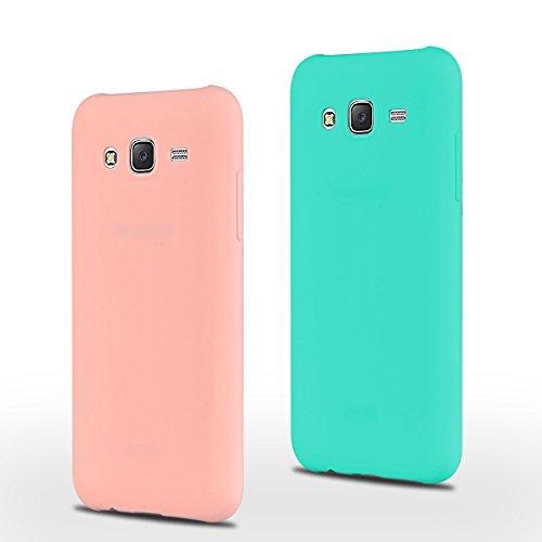 SpiritSun 2 xCustodia Samsung Galaxy J5 (2015) Galaxy J500 TPU Silicone Custodia Slim Bumper per Samsung Galaxy J5 Case Protezione Case Copertura Cover - Rosa + Blu