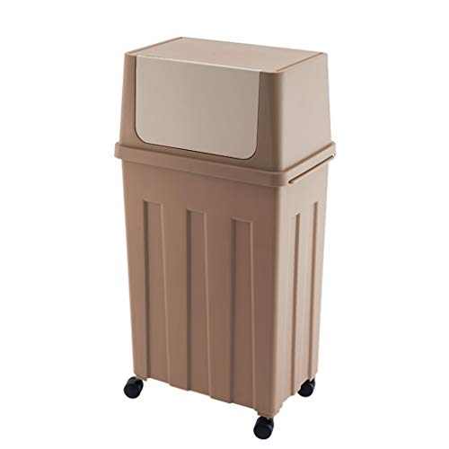 Mülleimer Poubelle Abfalleimer Seite Öffnen Abfallbehälter 30L Rad Mit Deckel Schmale Papierkorb Küche Wohnzimmer Badezimmer 3 Farbe 30 * 22 * 66,5 cm Rollsnownow (Color : Brown)