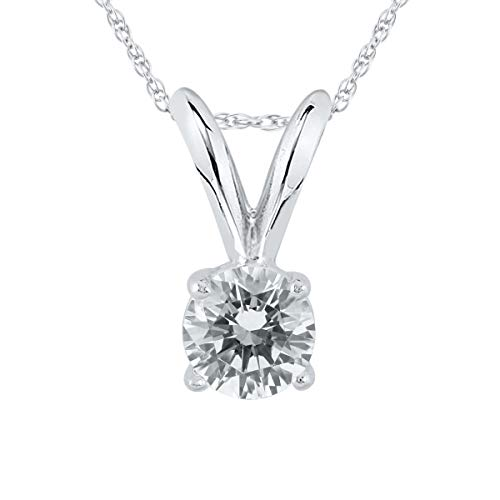 AGS Certified 1/5 Carat Round Diamond Solitaire Pendant in 14K White Gold