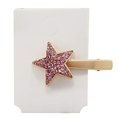 Yinuneronsty Minimalistische Krokodilklemmen, Fünf Spitzen für Frauen Mädchen Glänzend Farben Diamant Imitation Haarnadeln Metalllegierung Haarspangen Pink