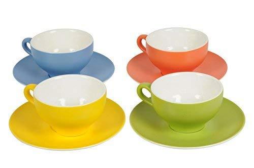 DRULINE 4er-Set Kaffeetasse auf Untertasse Kaffeebecher Kaffee Tee Tasse Porzellan UNI