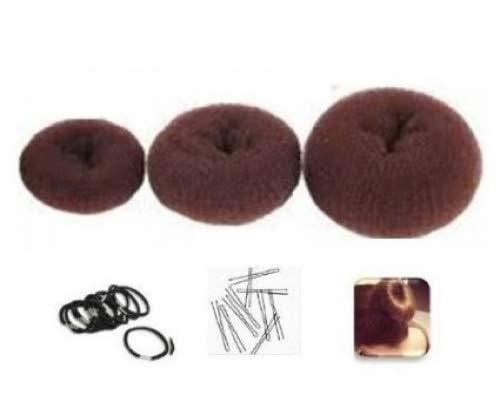 Boolavard Lot 3 couronnes donut avec 10 élastiques et 10 épingles à cheveux 6-8-10 cm Marron