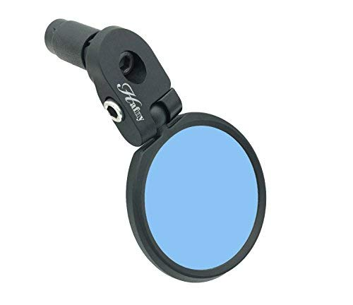 Hafny Bar End Bike Mirror, HD, Blast-Resistant, Glass Mirror, HF-MR090, HF-M951-FR03, HF-M952-FR03 (Anti-glare Blue Glass, 60mm)